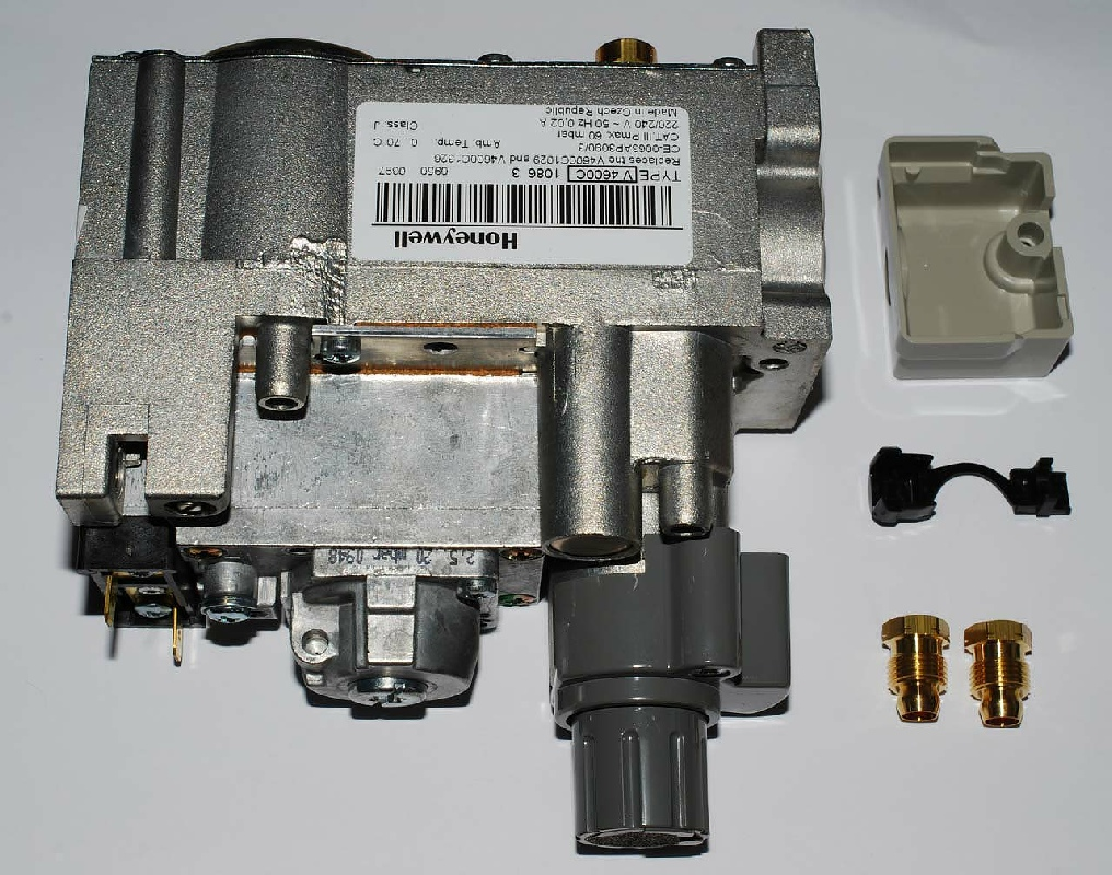 Photo of a new Honeywell V4600C gas valve also called a multifunctional gas control. & Ideal E Type RS80N Boiler Faults Problems and Fault-finding