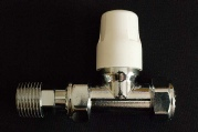 Picture of a 180° lockshield radiator valve. This is a manual radiator valve.