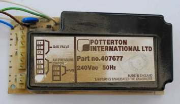 Photo of an old Potterton circuit board, part number 407677. The Potterton 407677 PCB is used on Potterton Profile boilers and on Potterton Prima F boilers.