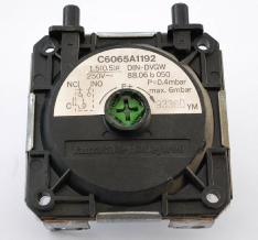 Back of a Potterton Prima F air pressure switch, showing the air pressure switch code number C6065A1192