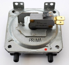 Potterton Prima F air pressure switch, showing corroded electrical contact which may have been causing ignition problems