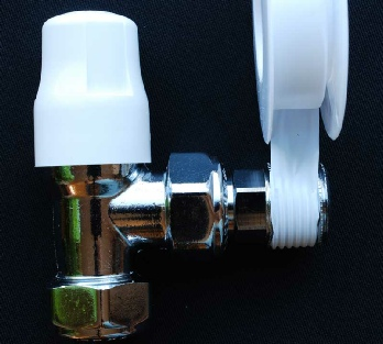 Photo showing how PTFE tape is wound onto a radiator valve tail