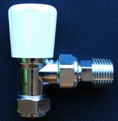 Photo of a wheelhead radiator valve. A wheelhead radiator valve is a manual valve.